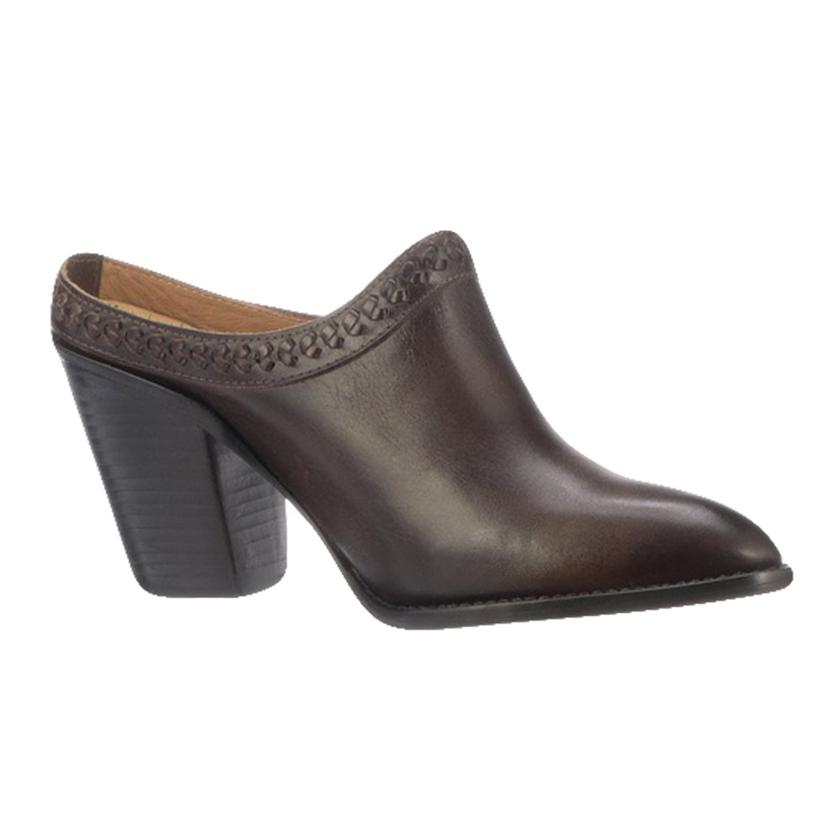 Lucchese Pattie Chocolate Mid Heel Women's Mule