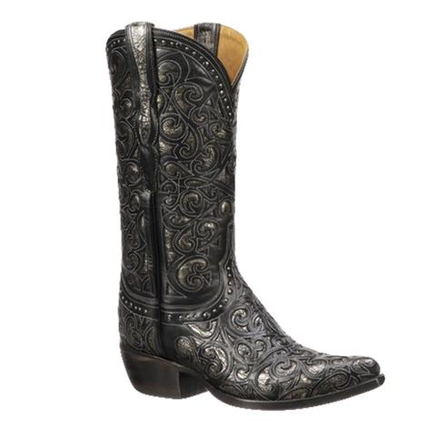Lucchese Sierra Black Silver Calf Laser Cut Women's Boots