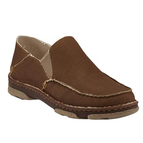 Tony Lama Gator Khaki Canvas Slip On Men's Shoe