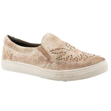 Roper Antique Cream Suede Studded Slip On Women's Shoe