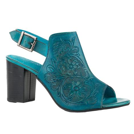 Roper Turquoise Tooled Open Toe Women's Mule Wedge