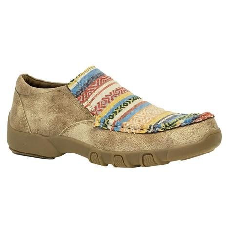 Roper Beige Multi Color Aztec Slip On Women's Shoes