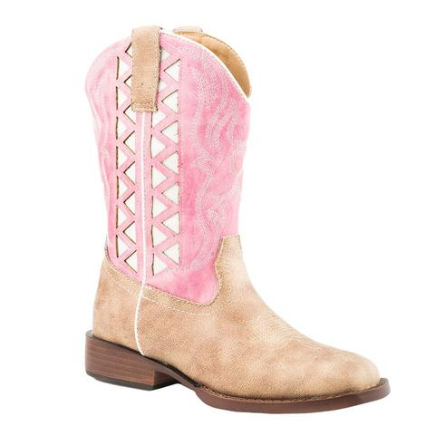 Roper Beige Pink White Top Girl's Kid Boots