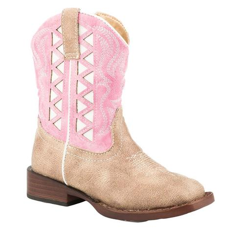 Roper Beige Vamp Pink/White Underlay Shaft Toddler Boot