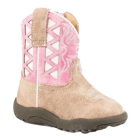 Roper Beige Vamp Pink/White Underlay Shaft Boot Infant