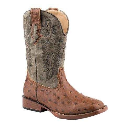 Roper Brown Faux Ostrich Kid's Boot