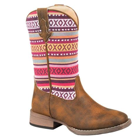 Roper Hugs and Kisses Pink Serape Girl's Kid Boots