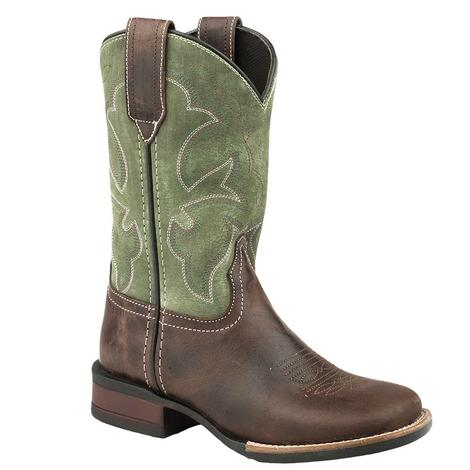 Roper Brown Leather Green Top Kid's Boots