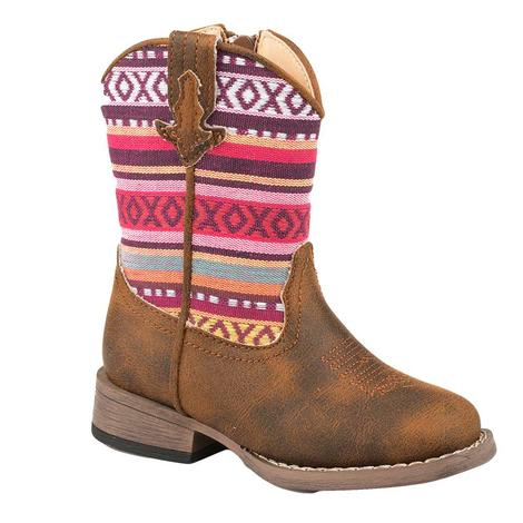 Roper Hugs and Kisses Pink Serape Toddler Boots