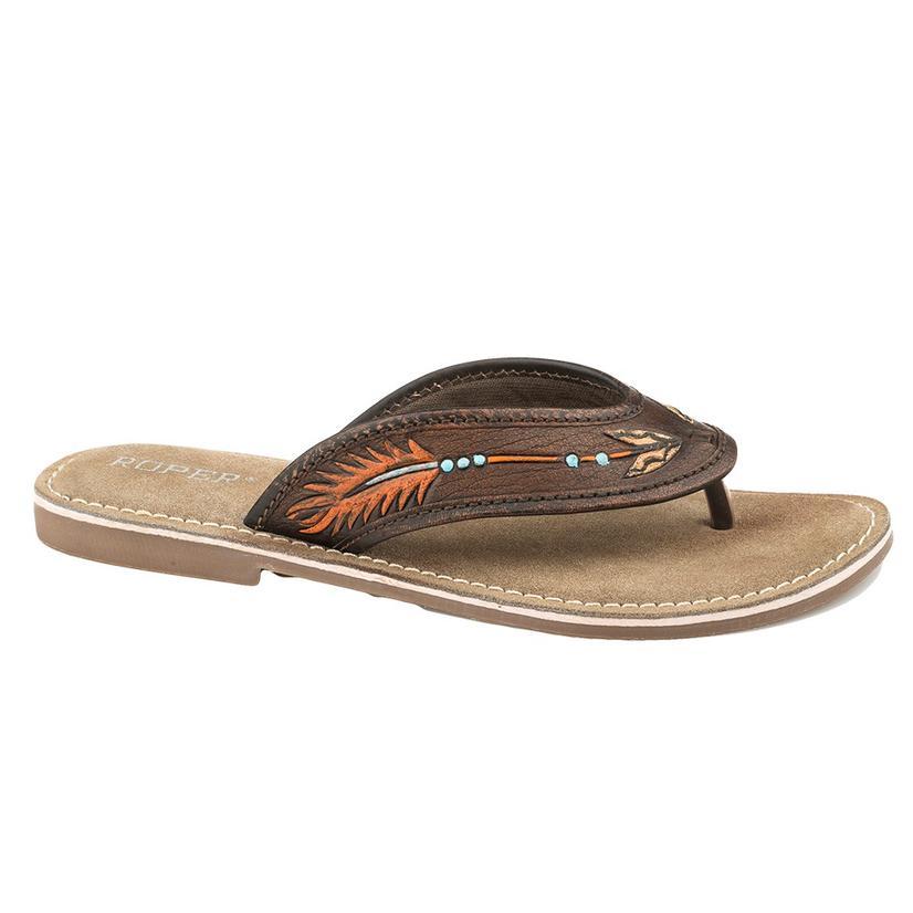 Roper Penelope Brown Arrow Thong Women's Sandals