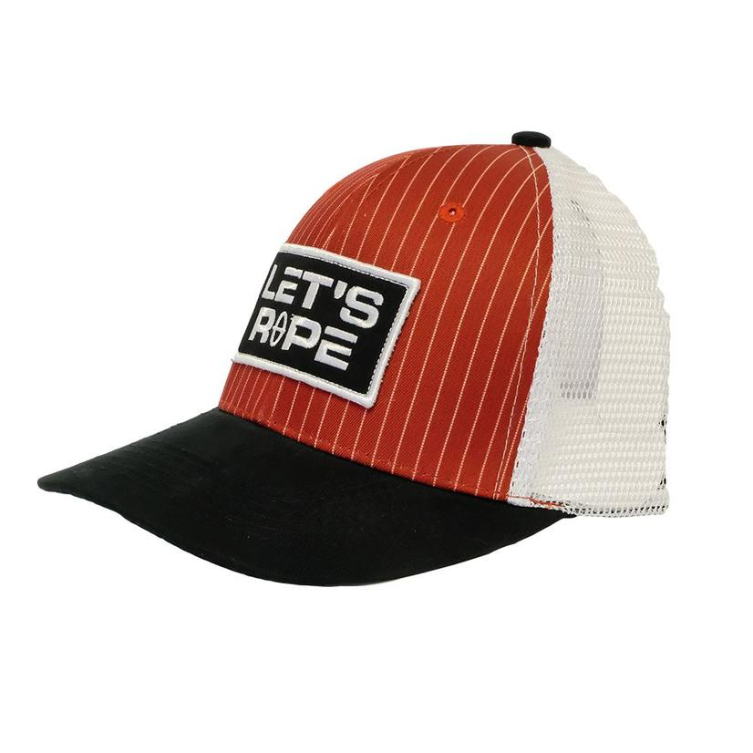 Let's Rope Cranberry Pin Stripe Meshback Cap