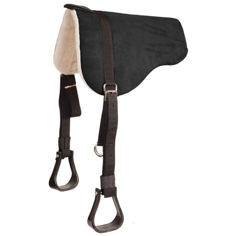 Mustang Faux Suede Eco Bareback Pad with Stirrups - Black
