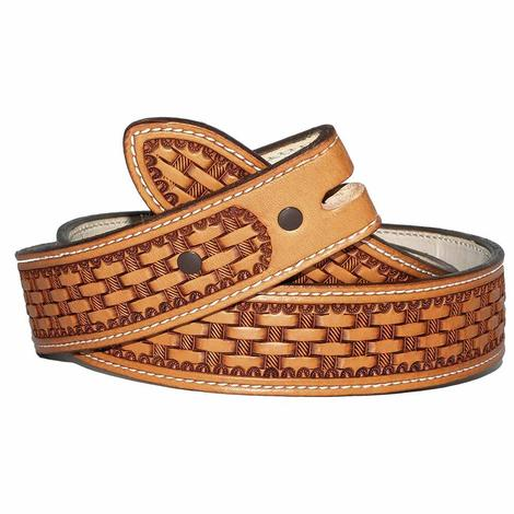 STT Custom Handmade Basketweave Leather Men's Belt
