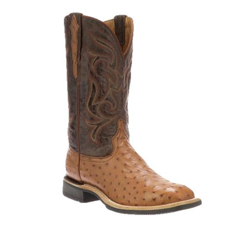 Lucchese Rowdy Barnwood Full Quill Brown and Tan Ostrich Barnboot