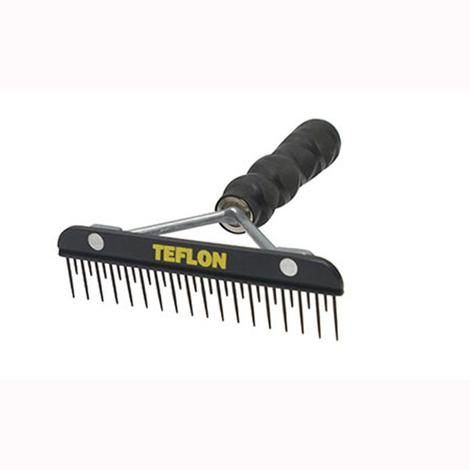6 Inch Teflon Fluffer Comb with Texturized Wood Handle