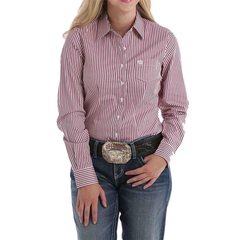 Cinch Fushia White Pink Stripe Long Sleeve Women's Shirt