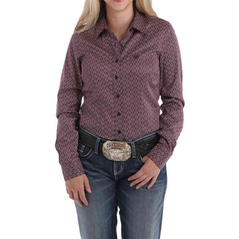 Cinch Burgundy Print Long Sleeve Button Down Women's Shirt