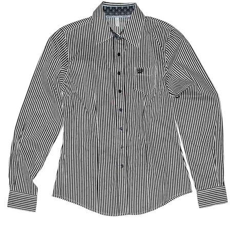 Cinch Dark Navy & White Pinstripe Dot Button Down Women's Shirt