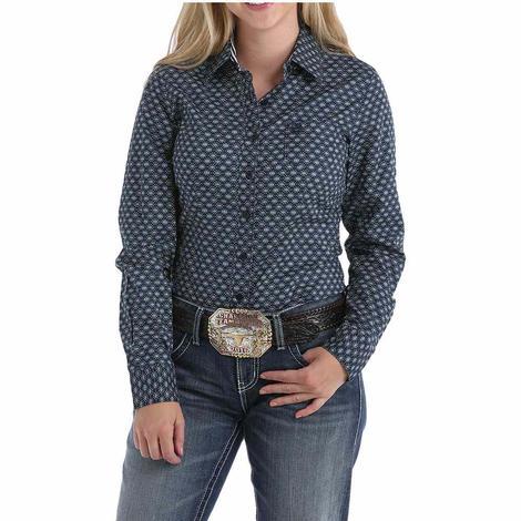 Cinch Navy Geo Print Button Down Women's Shirt