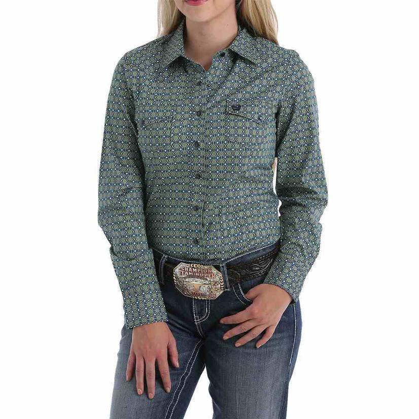 Cinch Blue And Green Geo Print Long Sleeve Women's Shirt