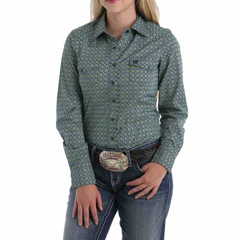 Cinch Blue and Green Geo Print Long Sleeve Women's Shirt