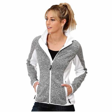 Roper Grey White Sweater Knit Fleece Women's Jacket