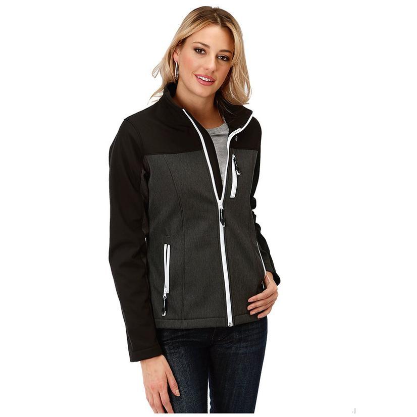 Roper Grey White Softshell Bonded Women's Jacket