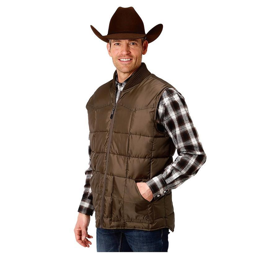 Roper Brown Opp Puffer Men's Zip Up Vest