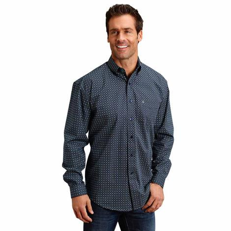 Stetson Blue Poplin Print Long Sleeve Button Down Men's Shirt