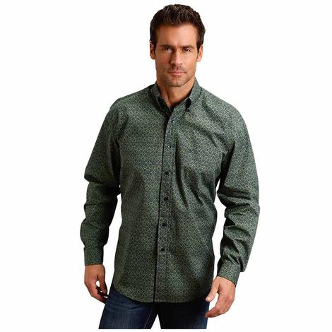 Stetson Green Poplin Print Long Sleeve Button Down Men's Shirt