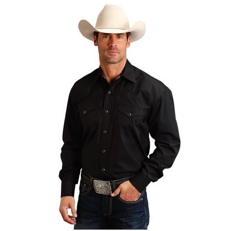 Stetson Black Solid Long Sleeve Snap Down Men's Black Shirt