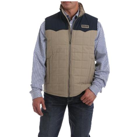 Cinch Black and Tan Color Block Quilted Men's Zip Vest