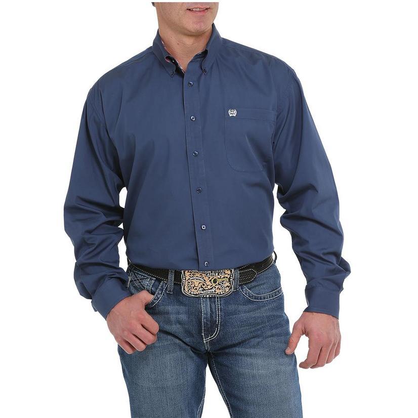 Cinch Solid Blue Long Sleeve Button Down Men's Shirt