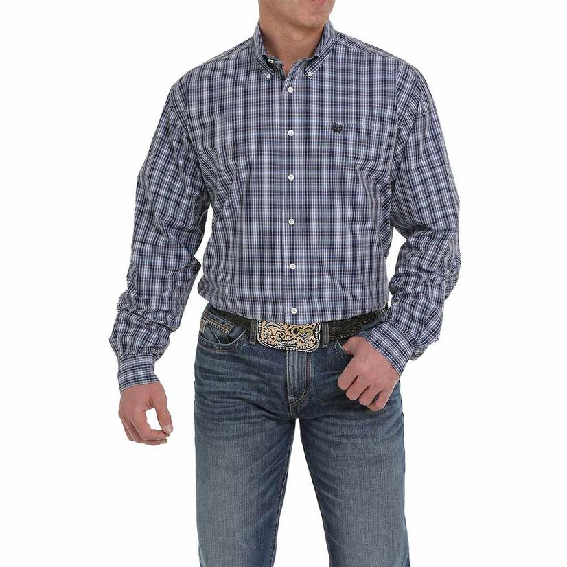 Cinch Blue Grey Plaid Long Sleeve Button Down Men's Shirt