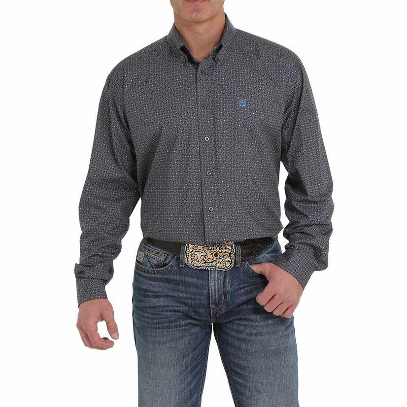 Cinch Dark Grey Print Long Sleeve Button Down Men's Shirt