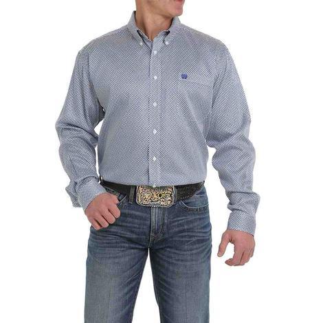 Cinch Cream and Blue Tencel Long Sleeve Button Down Men's Shirt