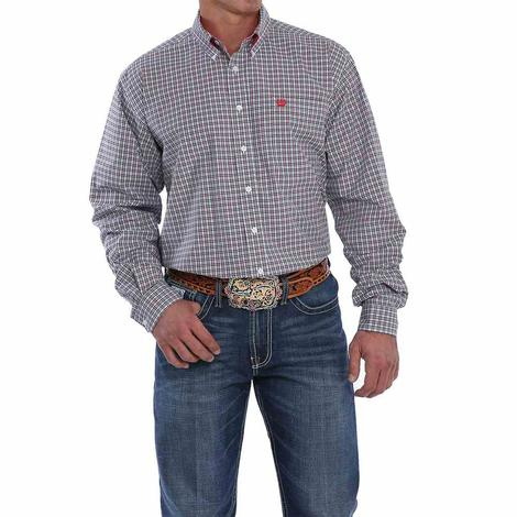 Cinch White Navy and Red Plaid Long Sleeve Button Down Men's Shirt
