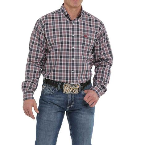 Cinch Burgundy Navy Plaid Long Sleeve Button Down Men's Shirt