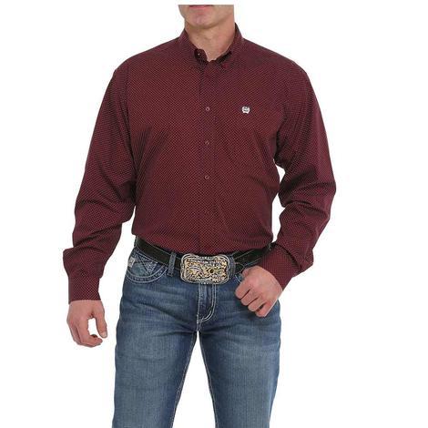 Cinch Burgundy Print Long Sleeve Buttondown Men's Shirt