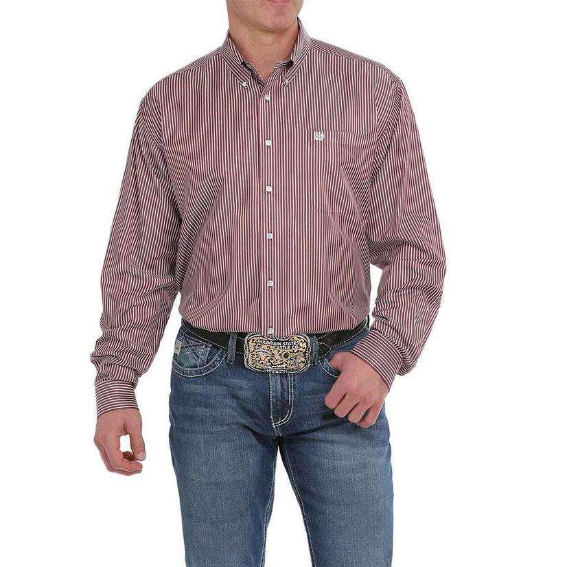 Cinch Burgundy Stripe Long Sleeve Button Down Men's Shirt