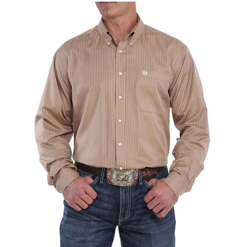 Cinch Khaki Striped Long Sleeve Button Down Men's Shirt