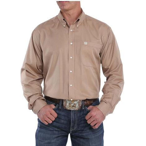 Cinch Khaki Striped Long Sleeve Button Down Men's Shirt