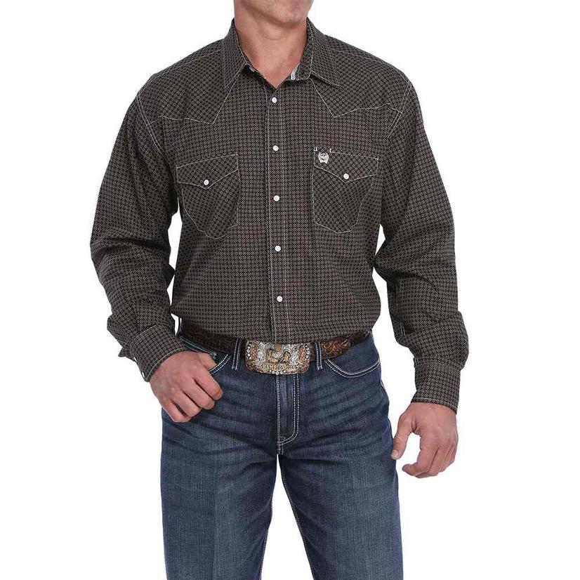 Cinch Black With Khaki Geo Print Western Snap Men's Shirt
