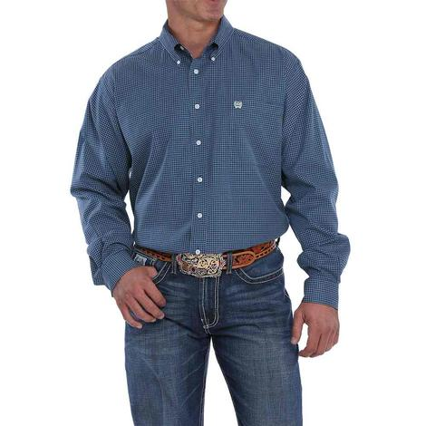 Cinch Navy White Checkered Long Sleeve Button Down Tencel Men's Shirt