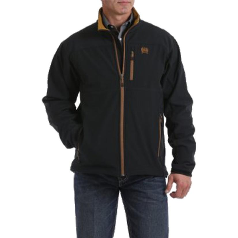 Cinch Black Bonded Conceal Carry Jacket With Brown Trim