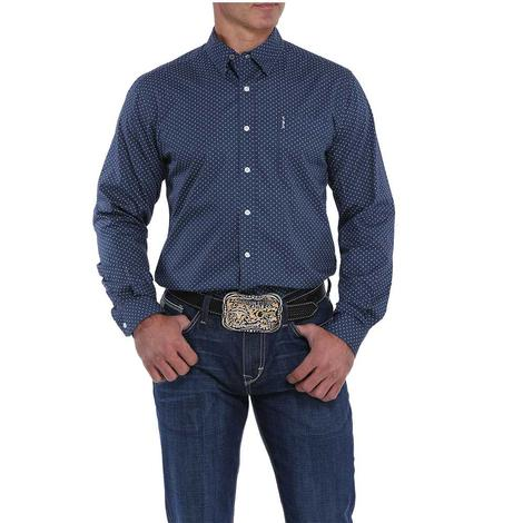 Cinch Navy with Print Long Sleeve Button Down Men's Shirt