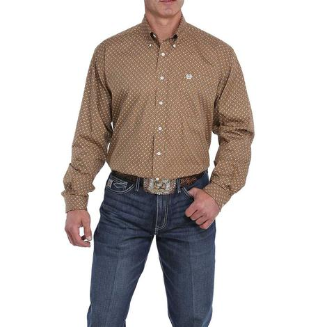 Cinch Khaki with Black White Geo Print Long Sleeve Button Down Men's Shirt