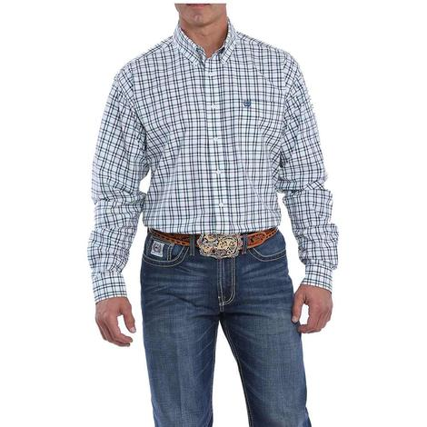 Cinch White Navy Mint Plaid Long Sleeve Button Down Men's Shirt