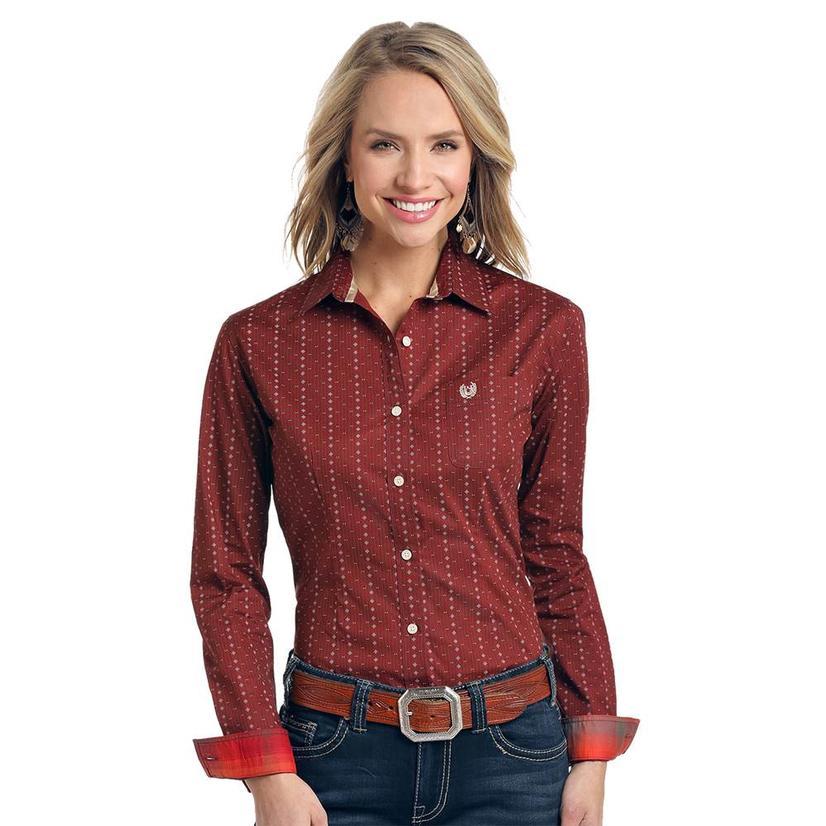 Panhandle Dark Red Print Long Sleeve Button Down Women's Shirt