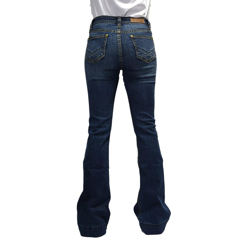 Rock And Roll Cowgirl High Rise Flare Medium Wash Women's Jeans
